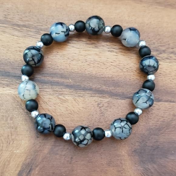 SOLD  Fire Agate, Onyx & Hematite Beads Bracelet